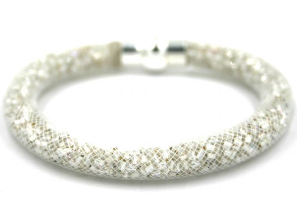 Starburst mesh bracelet kit - Silver foil beads with white mesh - Makes 5 bracelets MK006